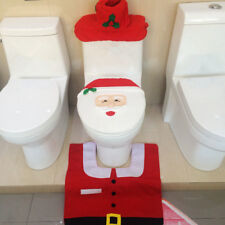 Santa Toilet Seat Cover Rug Bathroom Set Decoration Christmas Decoration Red JR