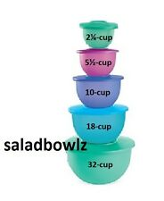 TUPPERWARE CLASSIC IMPRESSIONS 5-BOWL TOWER 2 5 10 18 32 cup SET Nesting fREEsHP