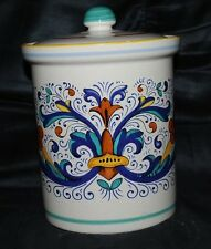Deruta Pottery Tall Ceramic Canister Biscotti Jar w/ Lid Handmade in Italy
