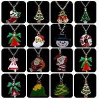 Christmas Tree Snowman Santa Claus Pendant Necklace Sweater Chain Women Jewelry