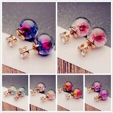 Chicas Nuevo Pendientes de botón Flor Cristal Bola Aretes Stud Earrings Mujer