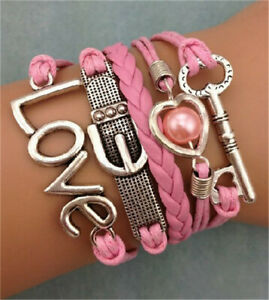 Retro Infinity Love Heart Key Friendship Antique Silver Leather Bracelet DIY NEW