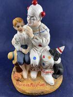 "1983 Norman Rockwell Figurine the Runaway Bisque Porcelain Clown Dog Boy 6 1/4"""
