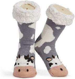 Cow Fluffy and Furry Slipper Socks for Women or Teenage Girls
