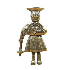 Antique/Vintage Peruvian Silver Figural Brooch Lapel Pin, Early-Mid 20th C.