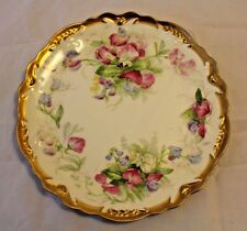 "Coronet Limoges 8.75"" Floral - Sweet Peas Plate w/Gold Accents - Hand Painted"