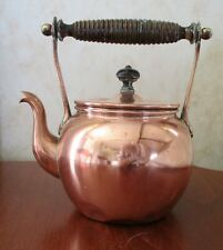 SMALL LINED COPPER STOVE KETTLE WITH WOOD HANDLE AND FINIAL ABOUT 1 litre