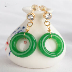Natural Ring Green Jade Earring 18KGP Dangle Holiday gifts Luxury Wedding Earbob