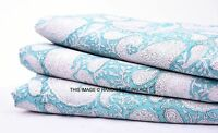 5 Yard Natural Dye Cotton Paisley Printed Dressmaking Sewing Craft Green Fabric