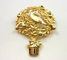 Vintage AJC Partridge in a Pear Tree Brooch Christmas Pin Gold Tone 1980's