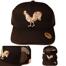 The Rooster Trucker Snapback Hat el Pollo Black Gold badge by Pedrini Queens NYC