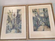 Vintage Original Signed Watercolor Painting Hamburg Germany Italy Signed Bauam