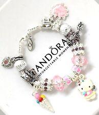 """Pandora Silver Bracelet 7.1 Hello Kitty Pink """"Happy Birthday""""  European Charms"""