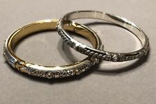 Brighton Aries Hinged & Rope Twist Heart Silver & Gold Plated 2 Bangle Bracelets