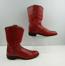 """Ladies Justin Red Leather Roper Western Boots Size: 7.5 A """"NARROW WIDTH"""""""