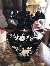 Rare Vintage Fenton Copper Roses on Black #7696 Hand Painted Vase ~ Signed!!