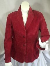 Red Suede Leather Jacket Newport News Button Front Coat Soft Fall Work Blazer 18