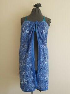 VICTORIA SECRET Moda International Sarong Swim Suit Cover-up Dress Blue Paisley
