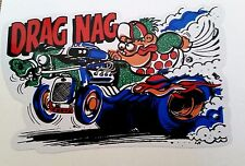 """DRAG NAG"" Sticker Decal Hot Rod Car Surfboard Surfing RACING V8 GTO Rat Fink"