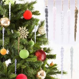 12X Acrylic Christmas Icicle Decoration Xmas Tree Hanging Ornament Wedding Party
