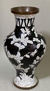 ASIAN CLOISONNE BLACK & WHITE FLORAL ENAMEL VASE