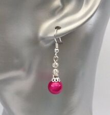 Pretty Cerise Hot Pink Silver Tone Miracle Bead Ladies Pierced Dangle Earrings