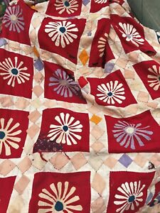 Vintage 1960's applique Cotton Throw / Cover / wall hanging