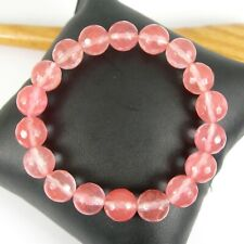 Gemstone Beads Love Stretch Bracelet 10mm Faceted Natural Pink Strawberry Quartz