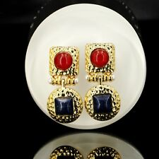 Costume Fashion Earrings Studs Green Red Blue Marine Square Pearl Vintage B6