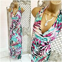 NO STRESS 💋 UK M New Bright Tropical Print Stretch Maxi Dress ~Free Postage~