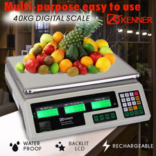 Kenner 40kg Digital Commercial Shop Electronic Kitchen Scale - White