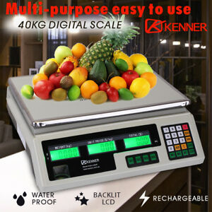 40KG Digital Kitchen Scale Electronic Scales Shop Market Commercial White LCD