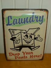 Large Retro Style Metal Wall Plaque Laundry Drop Your Pants Here 30x40cms