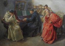 AUGUSTO DAINI AQUARELLE DESSIN TABLEAU ITALIEN MUSIQUE CONCERT PIANO CARDINAL