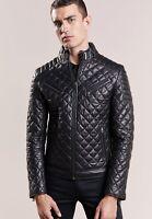 Black Quilted Leather Jacket Men Lambskin Biker Size S M L XL XXL Custom Made
