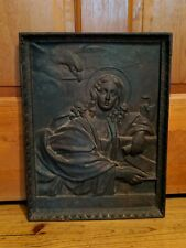 Antique Cast Iron Tile Woman Eagle/Hawk Snake Fireplace Fire Back Mythical