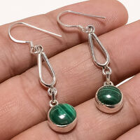 Natural African Congo Malachite Charm Earrings 925 Sterling Silver Jewelry Gifts