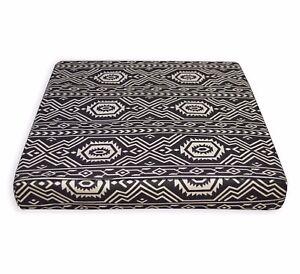 AL253t Pale Tan Black Geometric Cotton Canvas 3D Box Seat Cushion Cover Custom