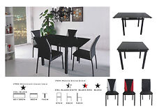Dining Table and 4/6 Chairs, Tempered Glass Extending Table Faux Leather Chairs