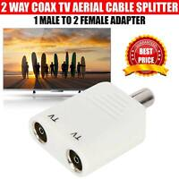 2 Way Coax TV AERIAL Cable Adapter 1 Male to 2 Female Ariel Splitter/Joiner PAL