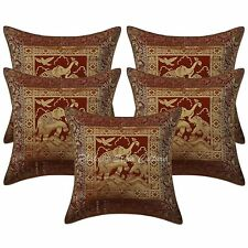 """16"""" Indian Ethnic Brocade Set Of 5 Throw Pillowcases Elephant Cushion Covers"""