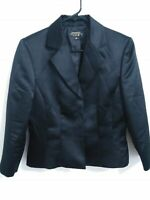 Flawed Tahari Luxe Womens Size 8 Black 3 Snap Button Up Blazer Jacket
