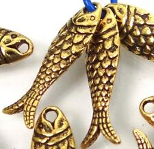 10  Antique Gold Pewter Fish Bead Charms 24x7mm