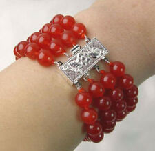 Fashion 4 Rows 8mm Red Jade White Gold Plated Flower Clasp Women Bangle Bracelet