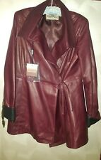 BURGUNDY RED & BLACK LEATHER COAT VERA PELLE ITALY NEW WITH TAGS SIZE 50 (MED)