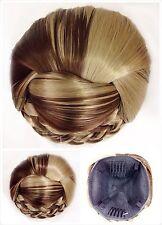 Hair Bun, Perfect Braided, Hair Piece, Blonde With Brown Stricks.