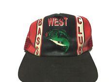 Vintage 80s WEST BASS CLUB Snapback Hat Fishing Cap