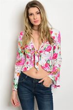 Women White Floral Bell Sleeve Top Resort Boho Shirt Casual Lace Sexy Blouse