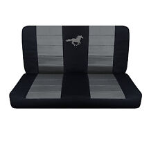 2005-2007 Ford Mustang Coupe Rear Black and Charcoal Horse Seat Covers