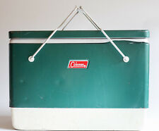 Vintage 1970's Coleman Green Metal Camping Travel Cooler with Handles